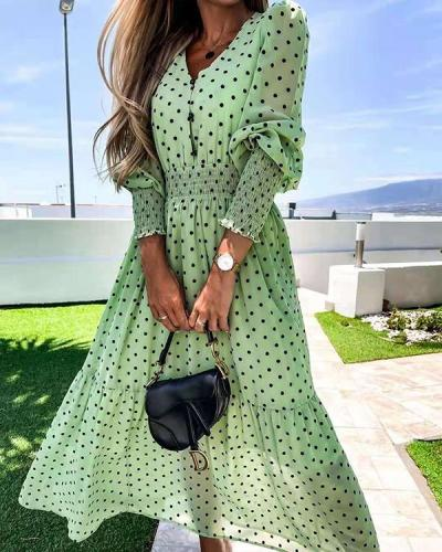 Long Sleeve V-neck Lady Chiffon Dress