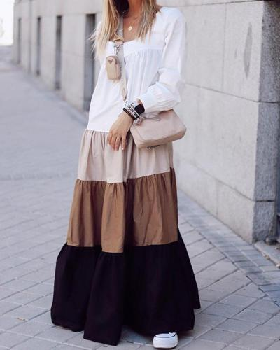 Contrasting Casual Loose Dress