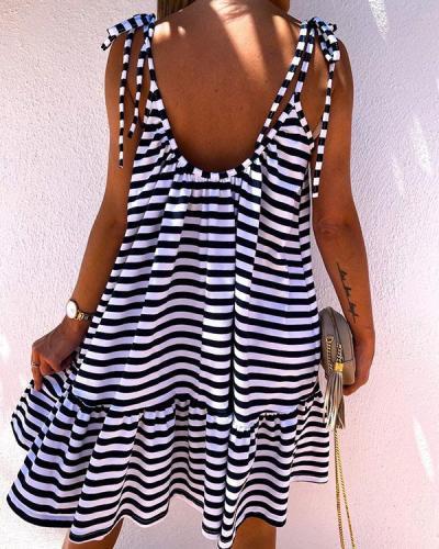Lace up Strap Sleeveless Stripe Ruffle Sweet Mini Dresses