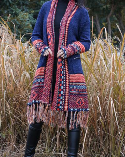 Tassel Long Bohemian Knitted Cardigan