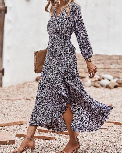 Chiffon Print Long Sleeve Maxi Dress