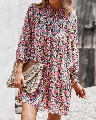Chiffon Print Long Sleeve Mini Dress