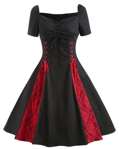 Vintage Gothic Contrast Pleated Dress Lace up Fit & Flare Dress