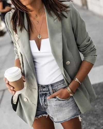 Fashion Lapel Solid Jacket Double Breasted Casual Blazer