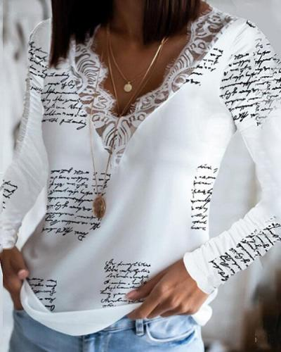Women's Lace V Neck Newspaper Print Long Sleeve Blouse Top