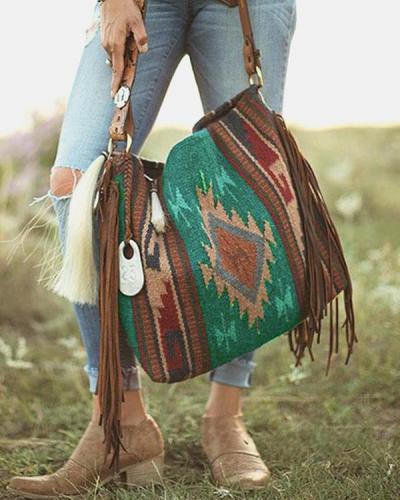 Women Retro Tassel Felt Geometric Print Ethnic Handbag Shoulder Bag Tote