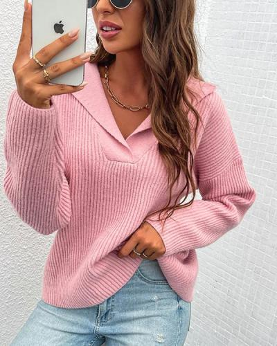 Fashion Loose Fit Rib Sweater Knitting V Neck Solid Top