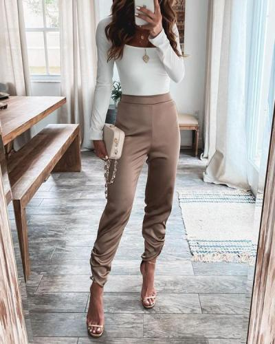 Womens Comfy Champagne Color Long Trousers Pants