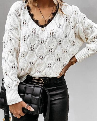 Casual Long-sleeve Hollow out Crochet Lace Knit Sweater