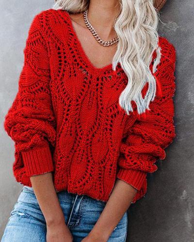 Women Solid V Neck Crochet Chunky Knit Sweater