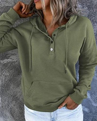 Women Solid Drawstring Button Hoodie Long Sleeve Top with Pocket