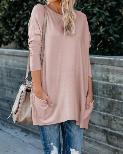 Plus Size Women Cotton Plain Color Pockets Long Sleeve Top