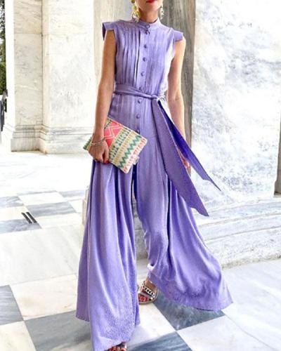 Women Elegant Print Button Tie Waist Belted Wide Leg Jumpsuit