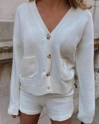 Button Pockets Cardigan Shorts Set