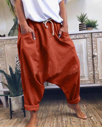 Fashion Cotton Solid Drawstring Waist Loose Pants with Pockets