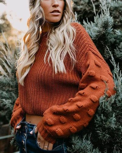 Thickened Navel Loose Puff Sleeve Knitted Sweater