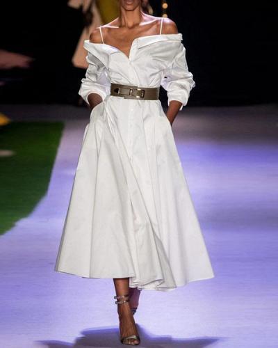 Fashion Women's Off Shoulder A Line Maxi Dress Daily Shirt Dress