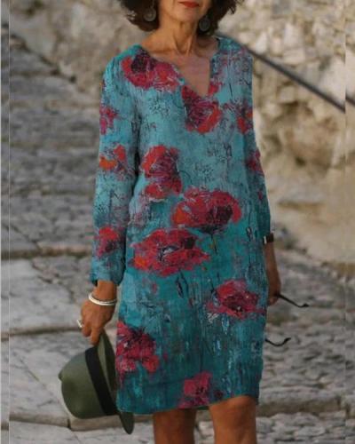 Floral V-Neckline Above Knee long sleeve Dress