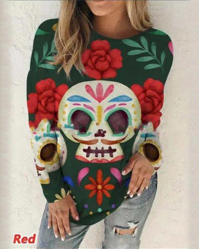 Halloween Skull Floral Print Fall Round Neck Casual Long Sleeve Tops