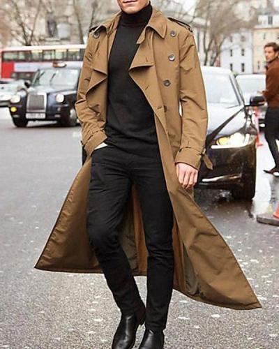 Men Vintage Fashion Solid Long Trench Coat
