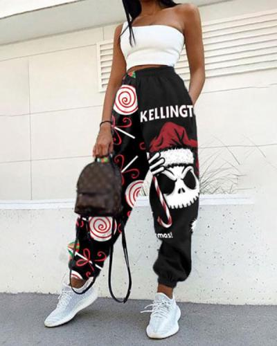 Christmas And New Year Print Sweatpants