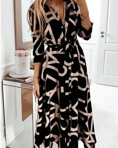 Women's Elegant Belt Waist Work Dress Print Midi Shirt Dress