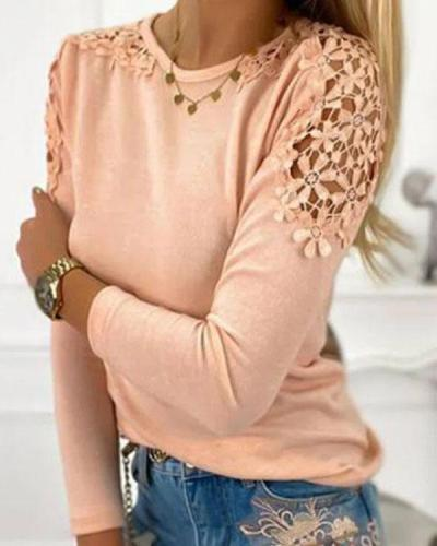Sexy Floral Lace Patchwork Crew Neck Skinny Fall Top