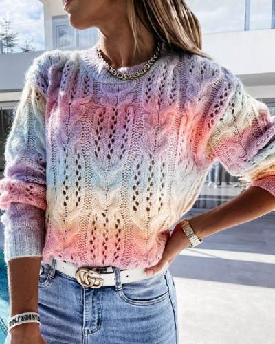 Tie Dye Pattern Crochet Round-Neck Pullover Knit Sweater