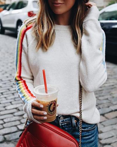 Solid Rainbow Striped Sweater