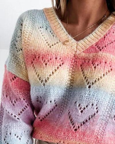 Tie Dye Sweetheart Pattern Crochet V-Neck Pullover Knit Sweater