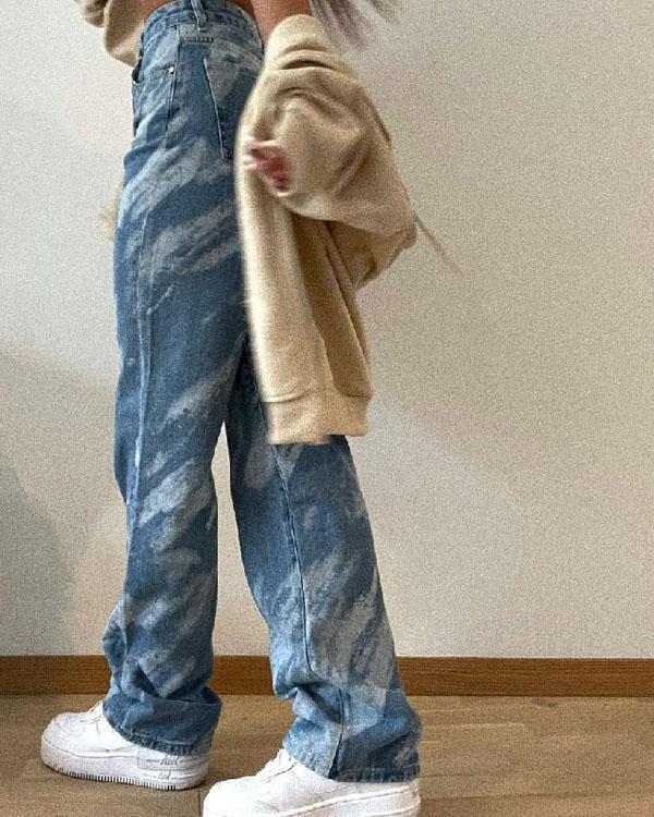 Casual Print Straight High Waist Denim Jeans