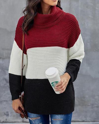Turtleneck Color Block Pullover Sweater