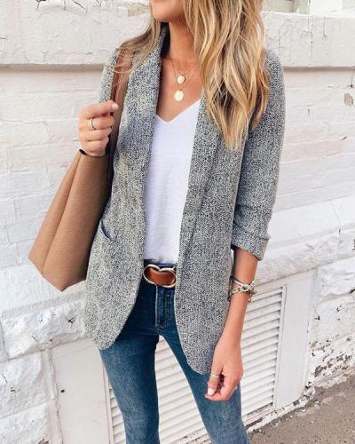 3/4 Length Sleeve Solid Color Cotton Lapel Blazer