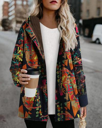 Cotton And Linen Pullover Print Jacket