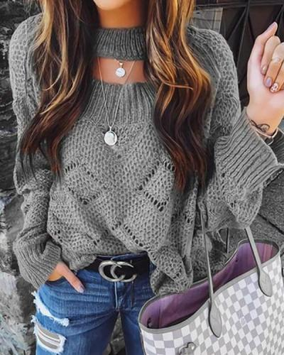 Hollow-Out Pullover Sweater