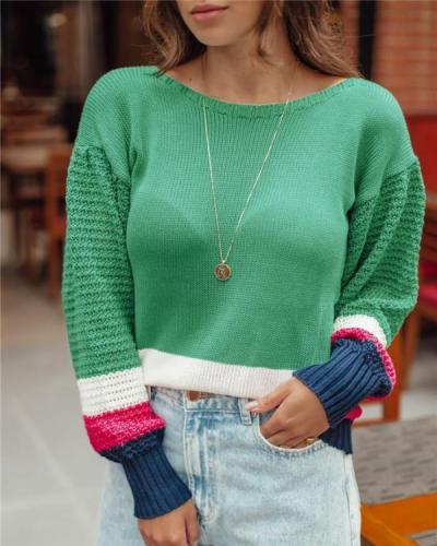Elegant flared sleeve contrast knit sweater