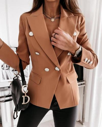 Double-Breasted Nine Points Sleeve Plain Notched Lapel Standard Women's Casual Blazer