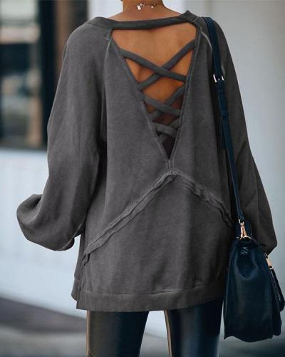 Autumn Fashion V Neck Hollow Cross Back Long Tops
