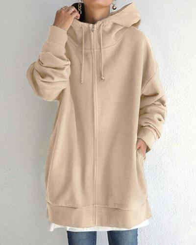 Personalized Street Style Zipper Fleece Lining Drawstring Hooded Sweatshirt