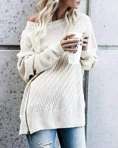 Solid Zipper Side Slit Batwing Sleeve Knit Sweater