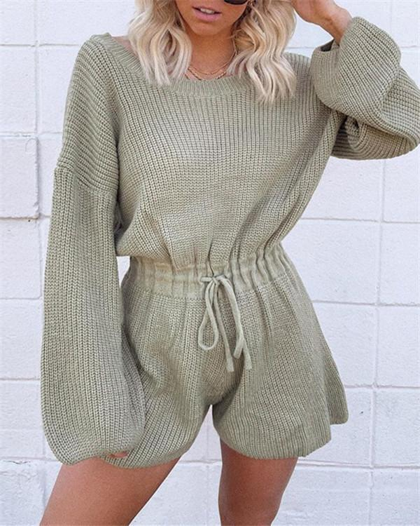 Sweater knitted loose round neck sweater lantern sleeve jumpsuit