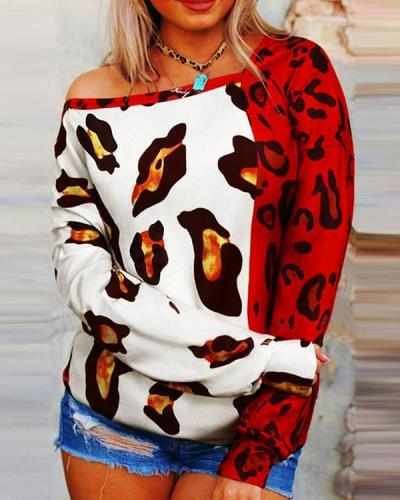 Casual Leopard Print  Long Sleeve Tops
