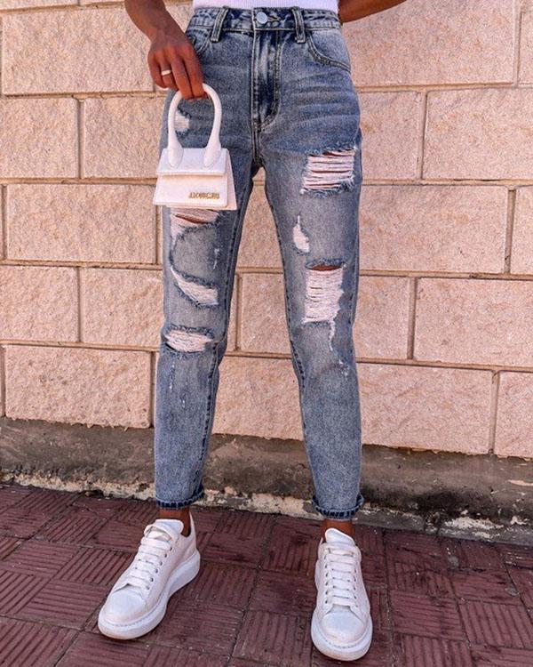 Washed Denim Hole High Waist Jeans