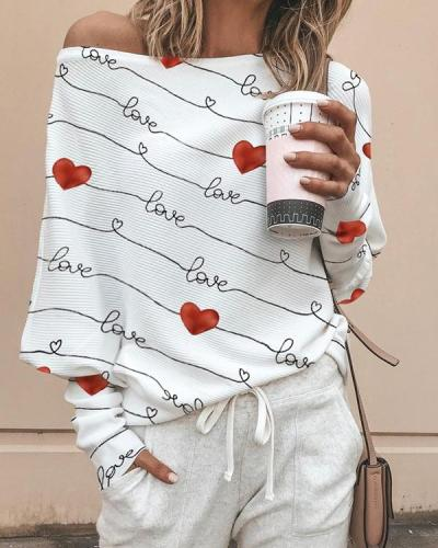 Women's Heart Print Off Shoulder Long Sleeve T-Shirts