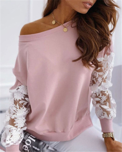 Casual stitching lace hollow long-sleeved pullover sweater