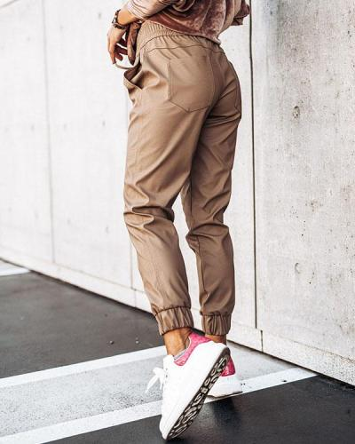 Slim Solid Color PU Leather Drawstring Waist Pants