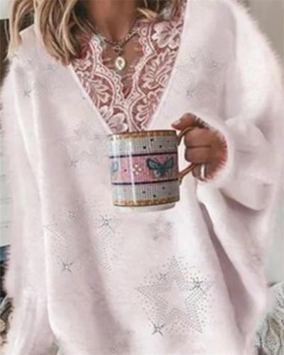 Early Autumn Women's Lace V-neck Long-sleeved Sweater