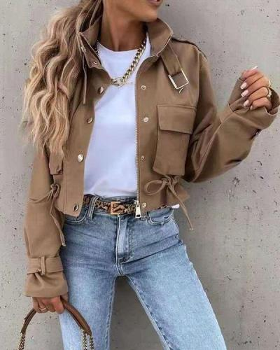 Long Sleeve Short Stand Collar Jacket