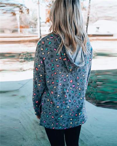 Leopard Print Long-sleeved Hooded Sweatshirt