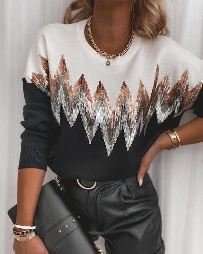 Plus Size Color Block Sequins Round Neck Casual Sweatshirt